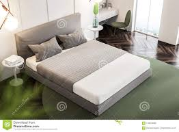 double bed top view. Top View Of A Bedroom Interior With White Walls, Wooden Floor Rug On It, Double Bed And Bedside Table Books. 3d Rendering Mock Up L
