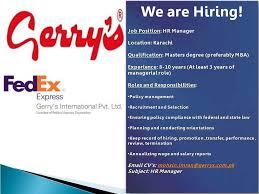 Fedex Jobs Awesome HR Manager Jobs In Gerry's Fedex Gulf Job Hunt UAE Saudi Arabia