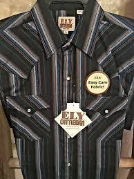 Ely Cattleman Western Shirt Blue Grey Black Striped Size