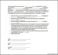 Simple Sublease Contract Template | Templatezet