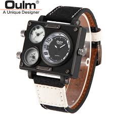 popular mens watch collection buy cheap mens watch collection lots oulm men s collection black rectangle case three quartz time zones military canvas fabric and leather band