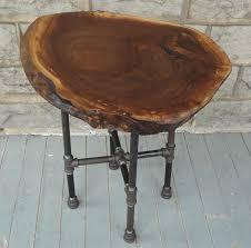 live edge round walnut side table