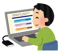 パソコンで確定申告をしている人のイラスト | かわいいフリー素材集 いらすとや