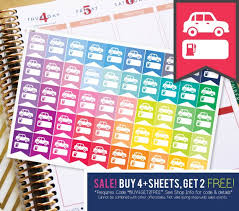 Car Gas Mileage Flag Planner Stickers To Be Used With Erin Etsy