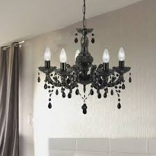 marie therese black 43 light chandelier with acrylic glass drops