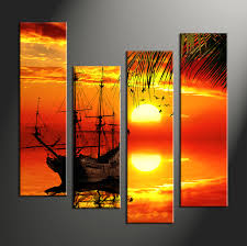 home decor 4 piece canvas wall art scenery multi panel canvas sunset huge on sunset wall art canvas with 4 piece red canvas landscape sunset wall decor