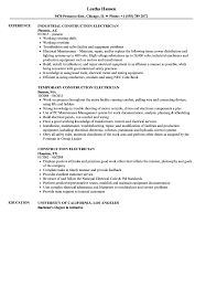 Electrician Resume Sample Construction Electrician Resume Samples Velvet Jobs 26