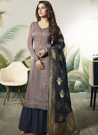 Satin Silk Dress Designs Satin Silk Purple Embroidered Designer Pakistani Suit
