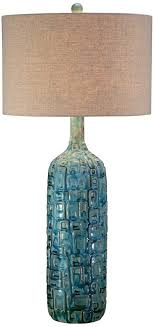ceramic teal midcentury table lamp by possini euro design amazoncom teal table lamp y47