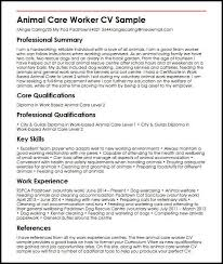 Animal Care Worker Cv Sample Myperfectcv