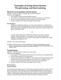 direct qoute examples of using direct quotes paraphrasing and summarizing
