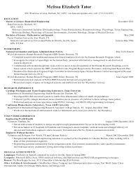 Master's Resume: Engineering Research. Melissa Elizabeth Tator 4283  Peachtree Avenue, Durham, NC 34587  melissa.tator@