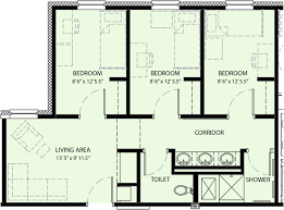three bedroom suite university commons measurements are approximate floor plans