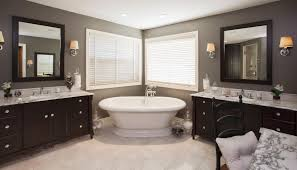 bathroom remodeling idea. Astounding Design Of The Black Wooden Cabinets Added With White Tubs And Grey Wall As Bathroom Remodeling Idea
