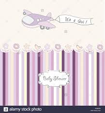 Announcement For Baby Girl Baby Girl Announcement Card With Airplane Stock Vector Art