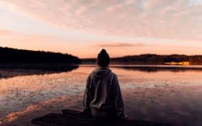 man preview wallpaper loneliness sunset lake solitude