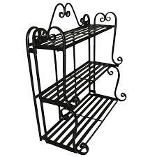 wrought iron bathroom shelf. Amazon.com : Folding Scroll Triple Wall Shelf Floating Shelves Garden \u0026 Outdoor Wrought Iron Bathroom L