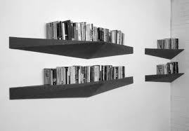 stunning wall bookshelves design come with triangular black modern stained wooden bookshelves and white painted wall
