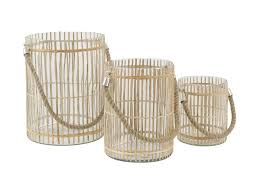jasper bamboo glass hurricane lamps with rope handles set of 3