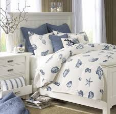 blue and white furniture. Wonderful Nautical Bedroom Furniture Decor With Blue Coastal Shell Bed Sheet And White Wood