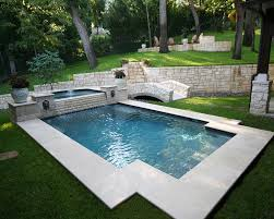 pool designs. Traditional Pool And Spa With Step Down Overflow, Lion Head Fountains, Wet Edge Plaster Designs