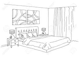 Simple bedroom drawing Small Bedroom Luxury Bedroom Clipart Black And White Bedroom Black White Graphic Art Interior Sketch Illustration Royalty 1067768168 Luxury Bedroom Clipart Black And White Bedroom Black White Graphic
