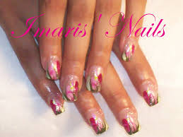 IMARIS' NAILS Pink Acrylics And Hand Painted - Nail Art Archive ...