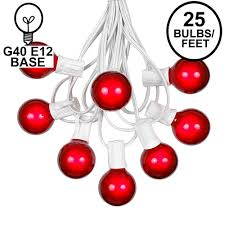 Red Globe String Lights 25 G40 Globe String Light Set With Red Satin Bulbs On White Wire