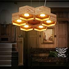 OaK Wood Honeycomb home decoration lamp Modern Creative Handmade Wood LED  Hanging Pendant Lamp Lighting Light