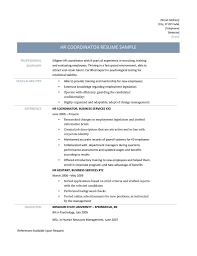 Hr Coordinator Resume Samples Tips And Templates Online