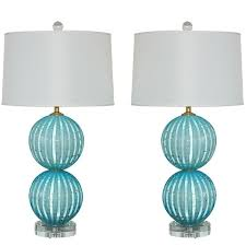 murano glass lamps in robin s egg blue with 24kt gold at