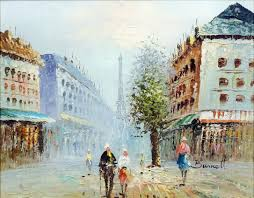 lot 256 burnett 20th century oil painting street scene in paris