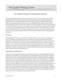 Statement Of Purpose Graduate School Sample Mba Personal Statements