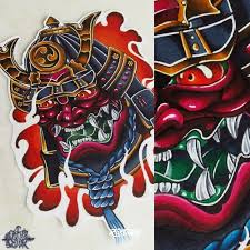 фото эскизы демон самурай демон самурай в стиле нео традишнл