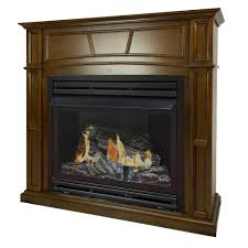 full size ventless propane gas fireplace in heritage