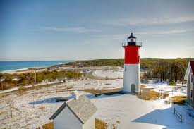 A Winter Scene Of Nauset Lighthouse Eastham Cape Cod