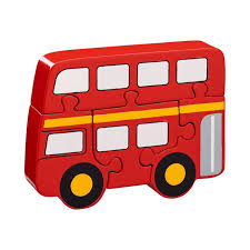 bus jigsaw four piece red chunky wooden