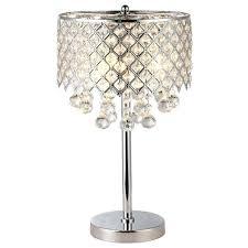 bedroom table lamps lighting chrome round crystal chandelier bedroom nightstand table lamp 3 light fixture beacon