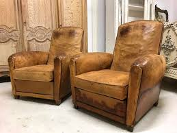 leather club chairs vintage. Pair Of Vintage 30/40s French Leather Club Chairs