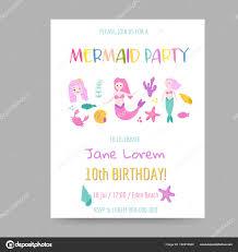 Mermaid Invitation Template Childish Birthday Invitation