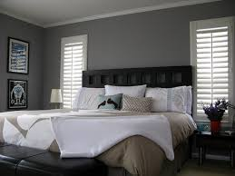Bedroom Fancy Gray Walls For Bedroom With Black Bed Also Leather