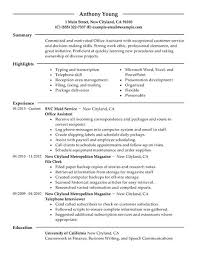 Office Resume Template Best Office Assistant Resume Example Livecareer Ideas