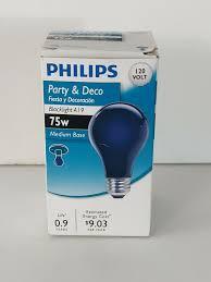 8ft Black Light Bulb Philips 75 Watt A19 Party Incandescent Blacklight Bulbs
