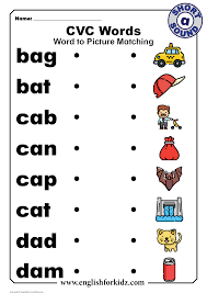 These free phonics worksheets cover all the short vowel sounds, a e i o and u and ask students to put the sounds together to make these simple words. Cvc Words Worksheets Short A Sound