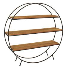 this table top or shelf standing round black metal shelf unit has 3 natural wooden shelves to display smaller items