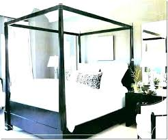 Wood Canopy Bed White Wooden Beds Black Transitional Bedroom Carved ...