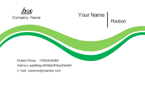 Green Card Template Green Curves Business Card Template
