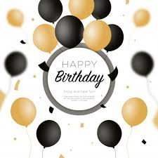 Happy Birthday Background With Black And Golden Balloons Vector