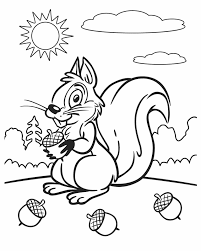 Small Picture Kleurplaat Squirrel on a sunny day Free Printable Coloring