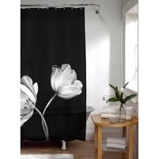 Black shower curtains Woman Peva Tulip Photoreal Single Shower Curtain Wayfair Black Shower Curtains Youll Love Wayfair
